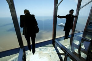 Blackpool Tower: Visitors try out the new glass skywalk