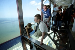 Blackpool Tower: Visitors try new glass skywalk