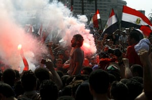 Egypt Riots: Egyptian Al Ahly soccer team Ultras fans during a protest at Tahrir Square
