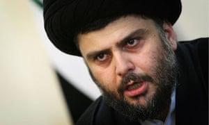 Iraqi Shi'ite cleric Moqtada al-Sadr speaks at a news conference in Tehran