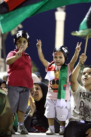 Tripoli celebration rally: Children celebrate during the speech