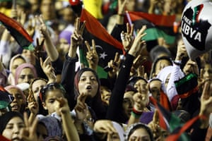 Tripoli celebration rally: Revolutionary supporters during Mustafa Abdel Jalil's speech