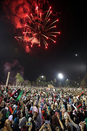 Tripoli celebration rally: Fireworks explode