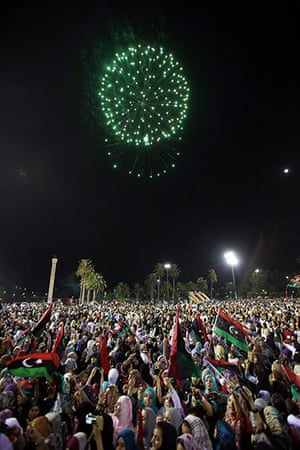 Tripoli celebration rally: Fireworks during the celebration