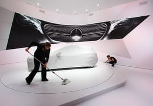 Frankfurt motor show: Workers for German car manufacturer Mercedes-Benz clean their stand