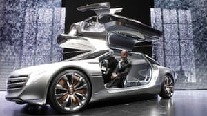 Frankfurt motor show: Daimler CEO Dieter Zetsche sits in the F125 fuel cell show car
