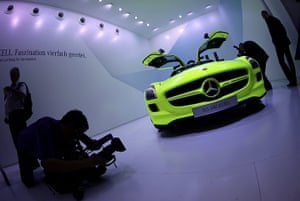 Frankfurt motor show: The Mercedes-Benz SLS AMG E Cell electric car is displayed