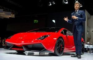 Frankfurt motor show: Chairman o fLamborghini, Stefan Winkelman with the new Lamborghini Gallardo