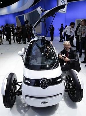 Frankfurt motor show: Visitors look at the Nils Volkswagen concept car