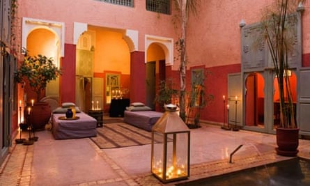 Candlelit Internal courtyard of a riad in  Morocco
