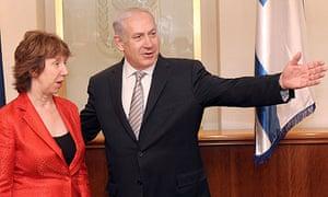 Catherine Ashton with Binyamin Netanyahu in Jerusalem