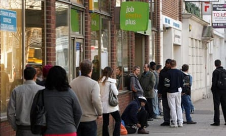 Jobseekers queue outside a Jobcentre Plus branch in London, March 2009