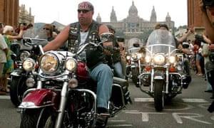 Harley-Davidson bikes in Barcelona, Spain