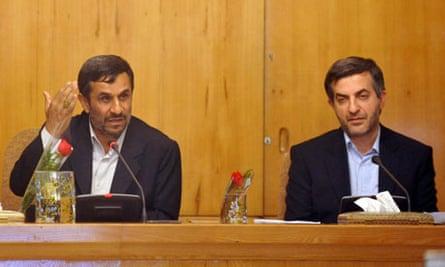Mahmoud Ahmadinejad and Esfandiar Rahim Mashaei