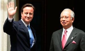 Malaysia prime minister, Najib Razak, with David Cameron