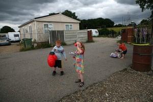 Dale Farm: Richard Sheridan and his cousins Viviana and Richard Sheridan playing