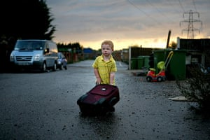 Dale Farm: Dennis Sheridan with his suitcase outside his yard at Dale Farm
