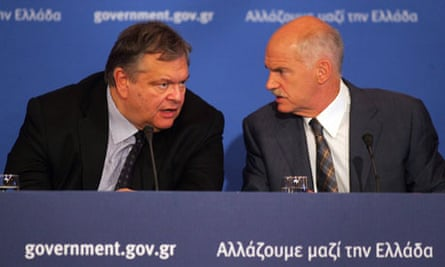 Greece finance minister Evangelos Venizelos and prime minister George Papandreou