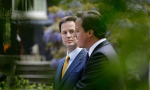 Nick Clegg and David Cameron in 10 Downing Street garden