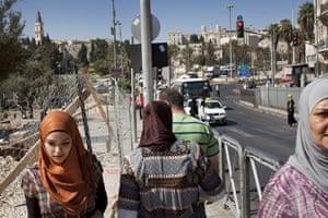 Levene West Bank: Women walk outside Jerusalem Old City