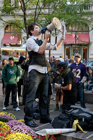 Wall Street protest: Anti-capitalist protestor with megaphone