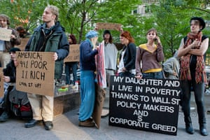 Wall Street protest: Protestors with placards in New York