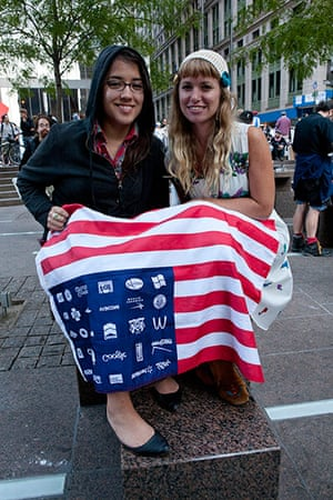 Wall Street protest: Anti-capitalist protestors with flag