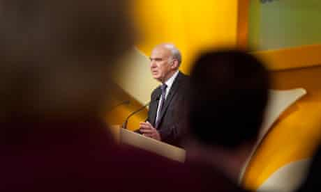 Vince Cable watched by Nick Clegg