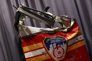 September 11 exhibition: A door from a firetruck that was crushed