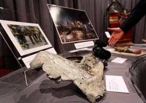 September 11 exhibition: A fragment of one of the planes that struck the World Trade Centre