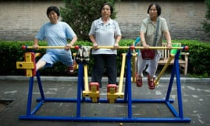 People exercising in a Chinese park