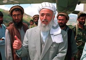 President Rabbani: 1998: Afghan President Burhanuddin Rabbani at Faizabad airstrip