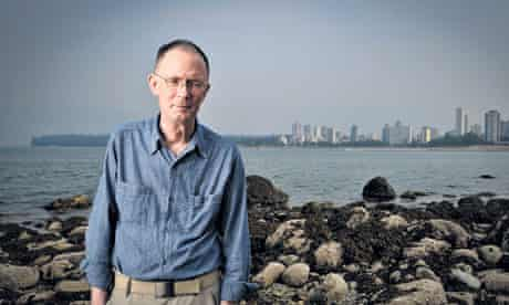 William Gibson on a beach near Vancouver