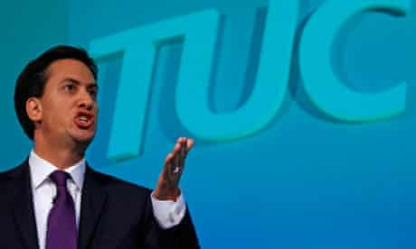 Ed Miliband speaking at the annual TUC congress