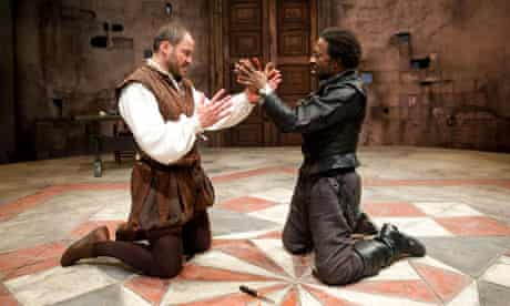 Dominic West (Iago) and Clarke Peters (Othello) in the Crucible's Othello