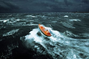 The Sea: A lifeboat in a storm off Ile d'Ouessant, Brittany, France