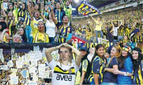 Women fans at the Fenerbahce-Manisapor match.