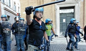 Riot police during a clash with anti-austerity protesters in Rome last week