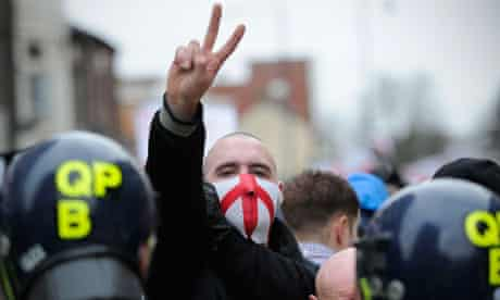 A member of the right-wing EDL (English