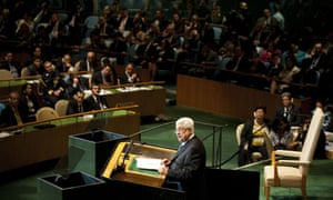 Palestinian leader Mahmoud Abbas speaking at the United Nations general assembly in New York