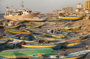 Palestinian Lives: Fishermen with their boats at the Gaza City Wharf area
