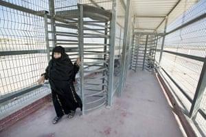 Palestinian Lives: The long walkway at the Erez border crossing between Israel and Gaza