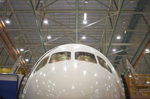 boeing 787 dreamliner: A Boeing 787 Dreamliner sits in it's final position on the assembly line
