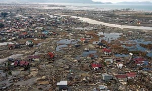 Flattened houses in Banda Aceh after the 2004 tsunami