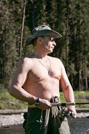 Vladimir Putin Gallery: 2007. Yenisei River, Russia: President Vladimir Putin enjoys fishing