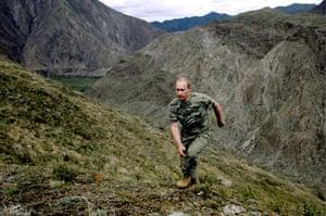Vladimir Putin Gallery: 2008. Tyva, Russia: Prime Minister Vladimir Putin on vacation.