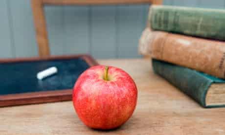 Teacher's apple on a desk