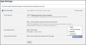 Application settings for the Guardian Facebook app