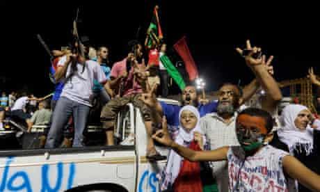 Libyan rebels in Gaddafi's compound, August 2011