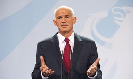 George Papandreou at the debt crisis meeting in Berlin
